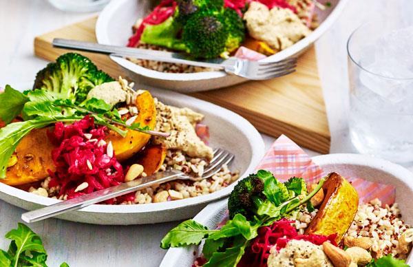 Turmeric veg with sauerkraut hummus