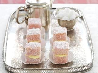 White chocolate raspberry lamingtons