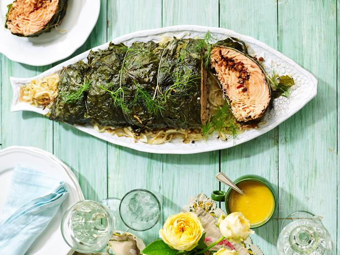 "**[Maggie Beer's baked salmon wrapped in vine leaves](https://www.womensweeklyfood.com.au/recipes/maggie-beer-baked-salmon-wrapped-in-vine-leaves-31643|target=""_blank"")**"