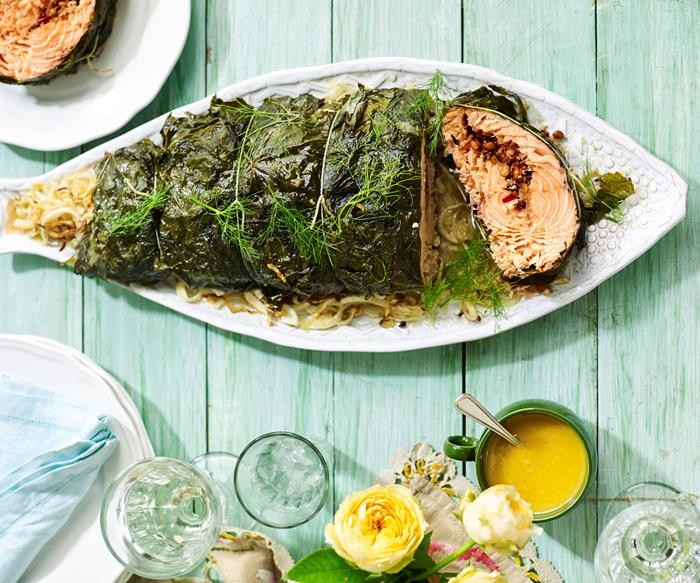 Maggie Beer's baked salmon wrapped in vine leaves