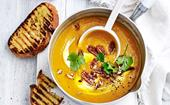 Harissa and maple pumpkin soup