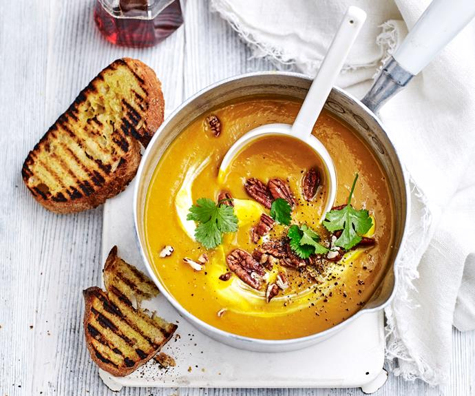 "**[Harissa and maple pumpkin soup](https://www.womensweeklyfood.com.au/recipes/pumpkin-soup-with-harissa-31662|target=""_blank"")**  Give your pumpkin soup a fiery Moroccan twist."