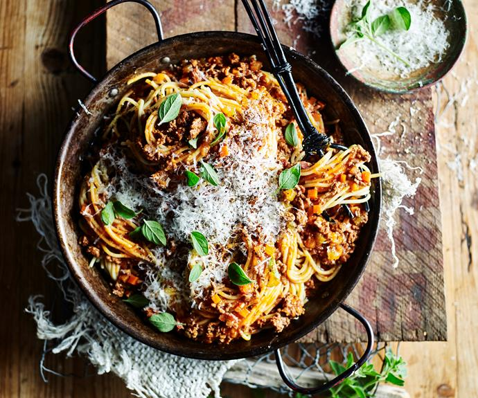 "**[Slow-cooked bolognese](https://www.womensweeklyfood.com.au/recipes/slow-cooked-bolognese-31722|target=""_blank"")**  Slow cook this family favourite to really intensify the flavours."