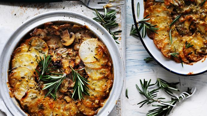 Potato and mushroom casserole with crunchy topping