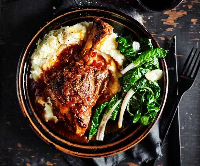 "**[Lamb shanks with mash and silverbeet](https://www.womensweeklyfood.com.au/recipes/lamb-shanks-with-mash-31726|target=""_blank"")**  Lamb shanks are the perfect slow-cooked meat, due to their high level of collagen, which when cooked low and slow over a significant period of time, causes the meat to fall lusciously from the bone and become a soft,melt-in-your mouth texture."