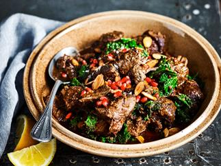 Slow-cooker lamb with kale & pomegranate