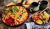 Cheesy smoked baked beans with pumpkin