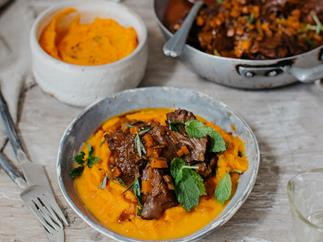 Braised beef cheeks with minted carrot puree