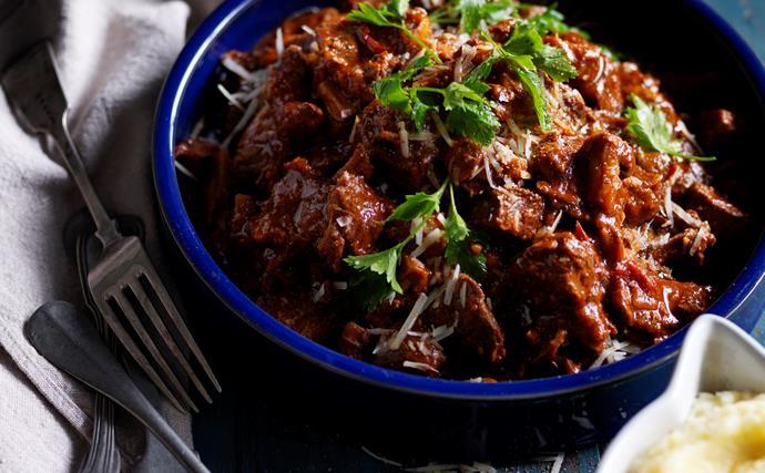 Beef and porcini mushroom stew with parmesan mash