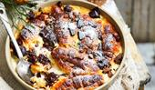 Dark chocolate croissant pudding