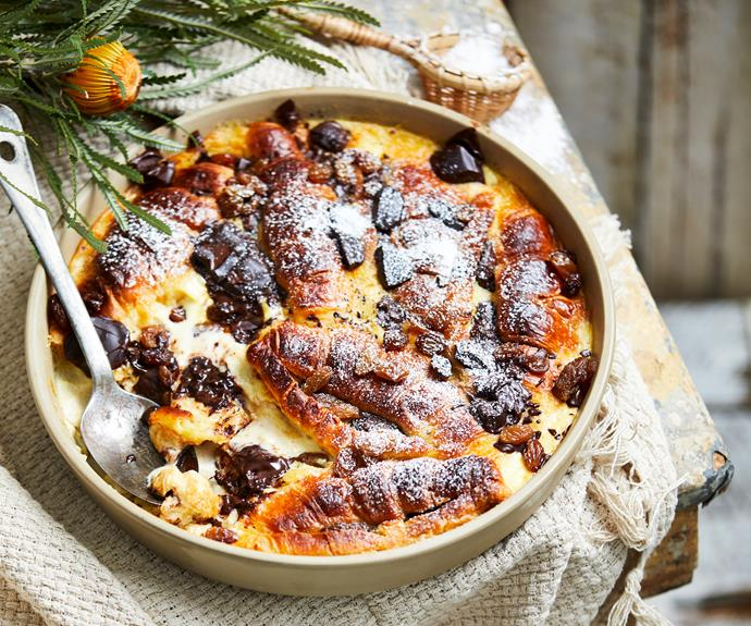 """**[Dark chocolate croissant pudding](https://www.womensweeklyfood.com.au/recipes/dark-chocolate-croissant-pudding-31752