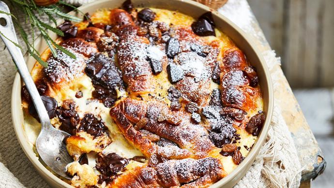 Dark chocolate croissant pudding