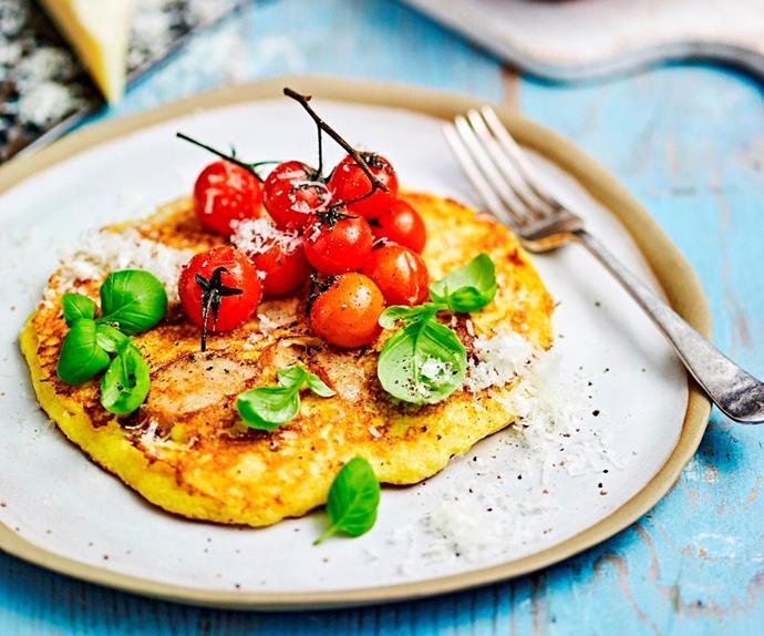 Easy polenta & sausage pancakes