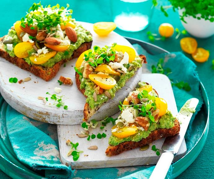 """**[Pea hummus smash toast](https://www.womensweeklyfood.com.au/recipes/pea-hummus-smash-toast-31777