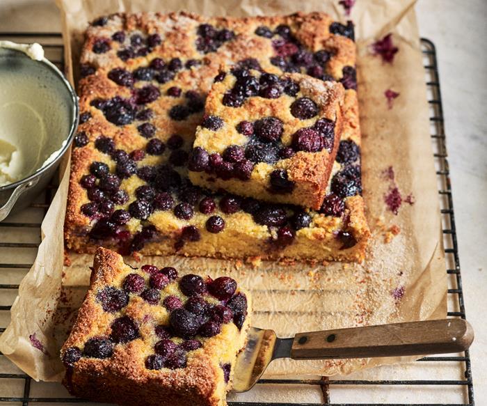 Ricotta, polenta & blueberry cake