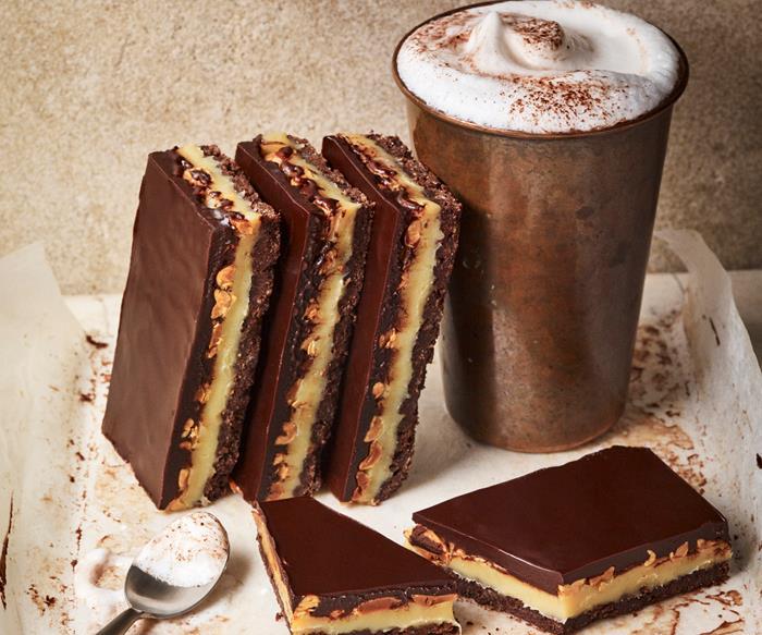 Gluten-free chocolate peanut caramel slice