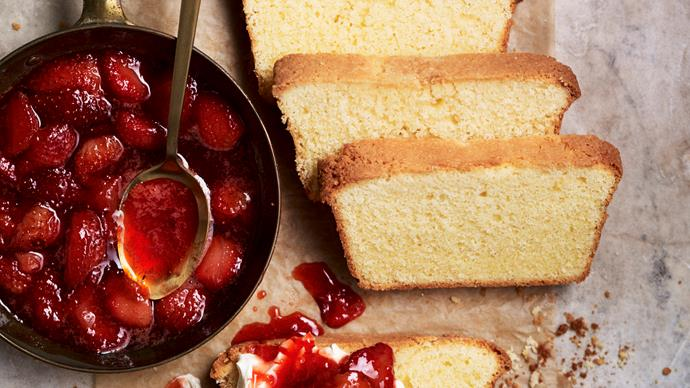 Almond & strawberry pound cake