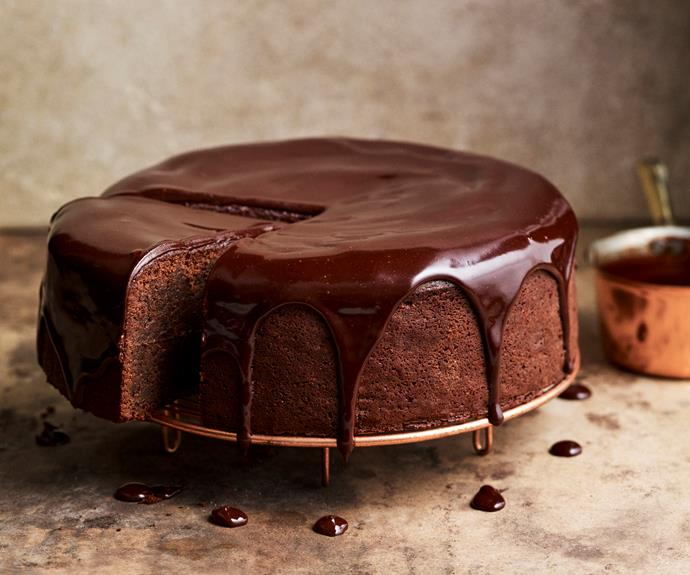 "**[Chocolate cake with sour cherry ganache](https://womensweeklyfood.com.au/recipes/chocolate-cake-with-sour-cherry-ganache-31810|target=""_blank"")**  Dense and rich chocolate cake with a gorgeously contrasting sour cherry glaze."