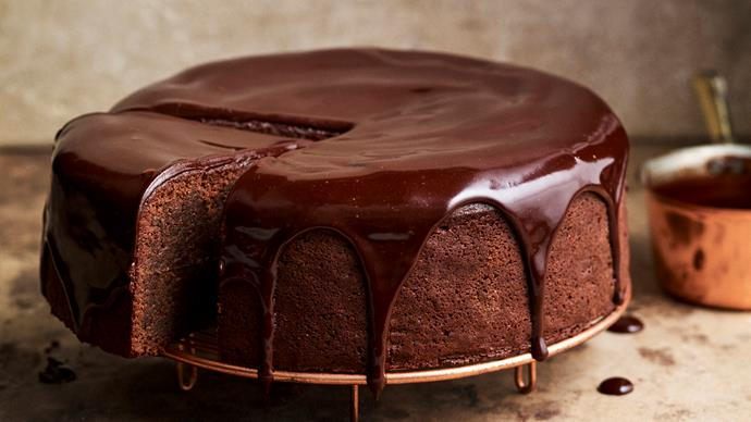 Chocolate cake with sour cherry ganache