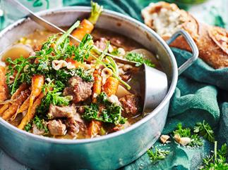Irish stew with carrot-top salsa verde