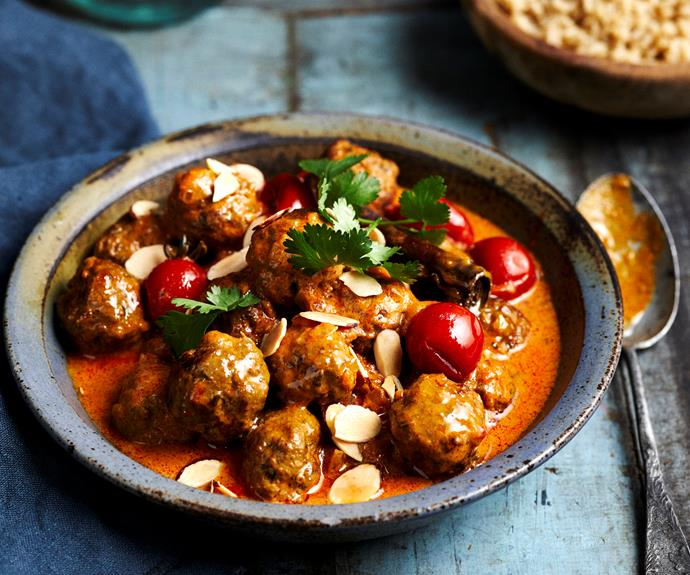 """[Tender lamb meatballs](https://www.womensweeklyfood.com.au/recipes/korma-curry-meatballs-10732 target=""""_blank"""") swimming in a rich korma curry sauce."""