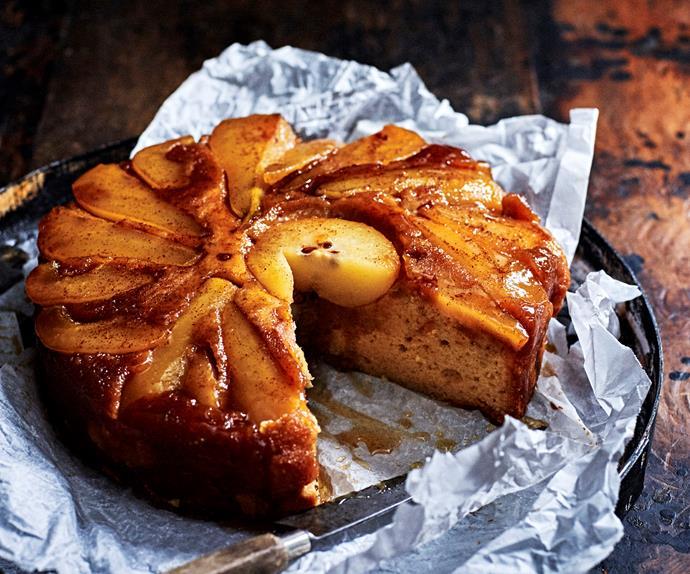 pear & ginger upside-down cake