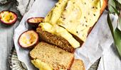 Banana bread with passionfruit icing