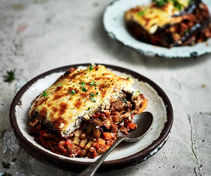 """**[Vegetarian moussaka](https://www.womensweeklyfood.com.au/recipes/vegetarian-moussaka-31843