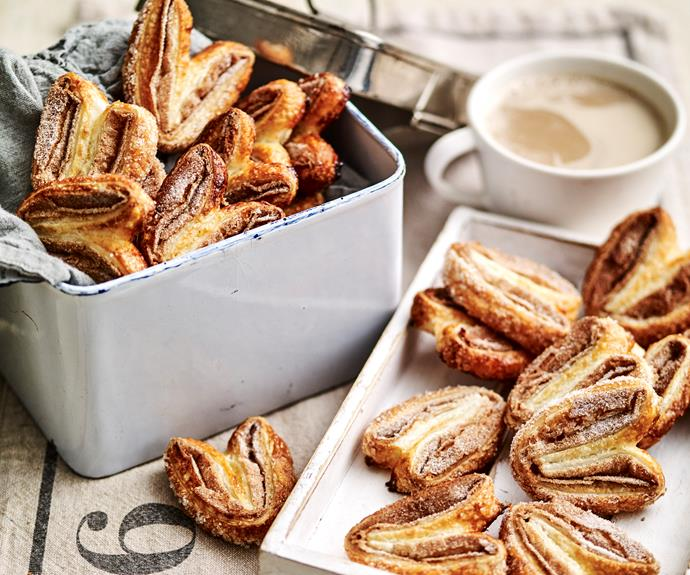 "**[Cinnamon sugar palmiers](https://www.womensweeklyfood.com.au/recipes/cinnamon-sugar-palmiers-31844|target=""_blank"")**  So simple and oh-so good!"