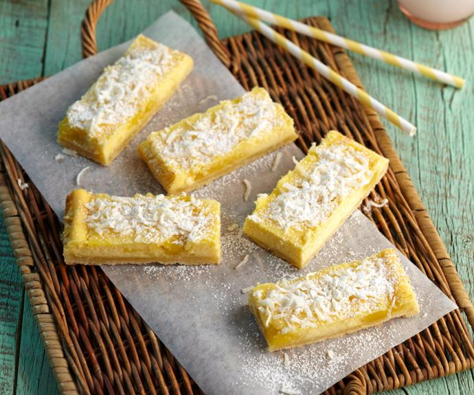 """This beautiful [lemon cheesecake slice](https://www.womensweeklyfood.com.au/recipes/lemon-cheesecake-slice-26049