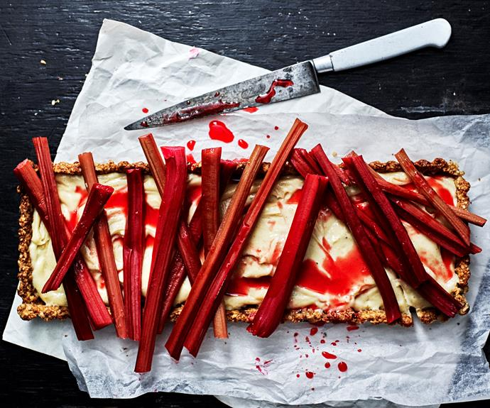 """**[Rhubarb and walnut tart](https://www.womensweeklyfood.com.au/recipes/rhubarb-and-walnut-tart-31868