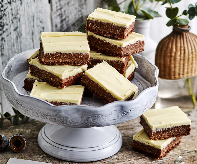 "**[Chocolate rough slice](https://www.womensweeklyfood.com.au/recipes/chocolate-rough-slice-6410|target=""_blank"")**  Layers of chocolate and choc-coconut filling combine in this traditional slice that's loved by all."