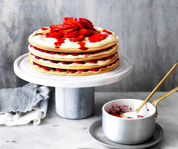 "**[Strawberries & cream shortcake](https://www.womensweeklyfood.com.au/recipes/strawberries-and-cream-shortcake-31920|target=""_blank"")**  This spectacular layer cake is sure to impress."