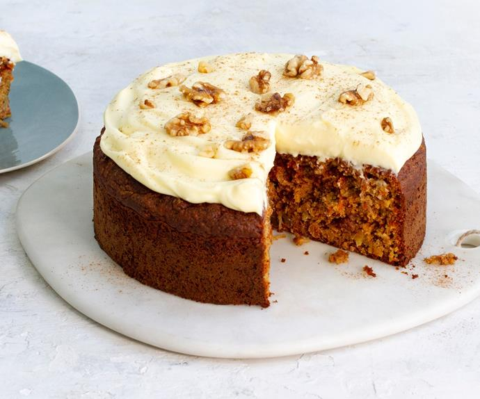 Low sugar, gluten free carrot cake with cream cheese frosting