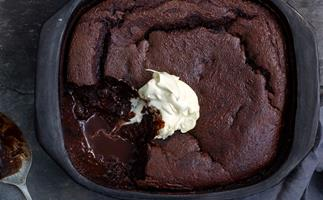 Low sugar, gluten free chocolate self-saucing pudding