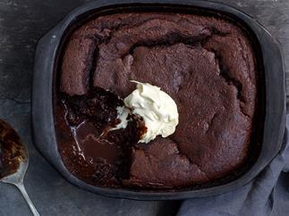 Low sugar, gluten free chocolate self-saucing pudding