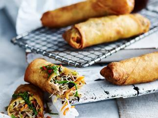 Pork & noodle spring rolls