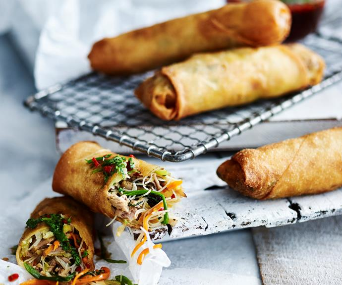 """Everyone loves a tasty [spring roll](https://www.womensweeklyfood.com.au/recipes/spring-rolls-1468 target=""""_blank""""). Traditionally they're eaten to celebrate the first day of spring. While we're more familiar with [fried spring rolls](https://www.womensweeklyfood.com.au/recipes/spring-rolls-with-chilli-plum-sauce-6782 target=""""_blank""""), they're also served [baked](https://www.womensweeklyfood.com.au/recipes/oven-baked-spring-rolls-3101 target=""""_blank"""") or steamed. Most commonly filled with [pork](https://www.womensweeklyfood.com.au/recipes/pork-and-noodle-spring-rolls-31941 target=""""_blank""""), Chinese cabbage, carrots, and shiitake they can also be filled with sweet fillings like red bean paste."""