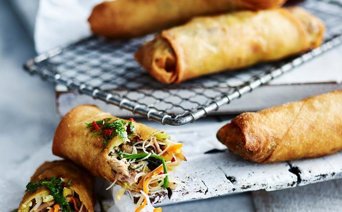 Pork and noodle spring rolls
