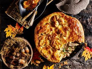 Chicken & lemon thyme one-pan pie