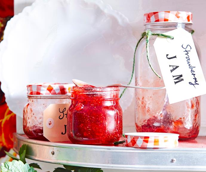 """Home-made [strawberry jam](https://www.womensweeklyfood.com.au/recipes/strawberry-jam-6632