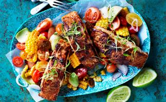 Cajun-spiced fish with roasted corn salsa