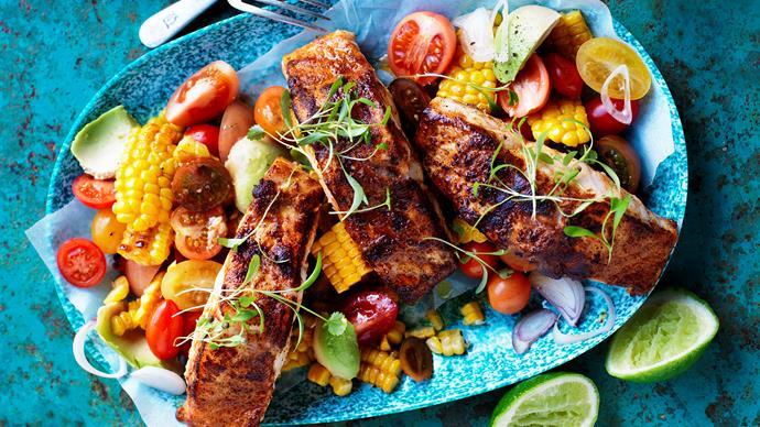Cajun-spiced fish with roasted corn salsa