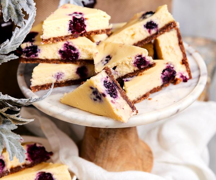"""**[White chocolate and berry cheesecake slice](https://www.womensweeklyfood.com.au/recipes/white-chocolate-and-berry-cheesecake-slice-12938
