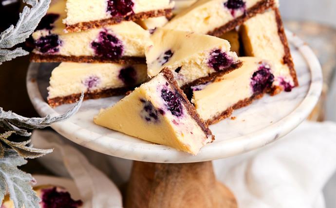 white chocolate & berry cheesecake slice