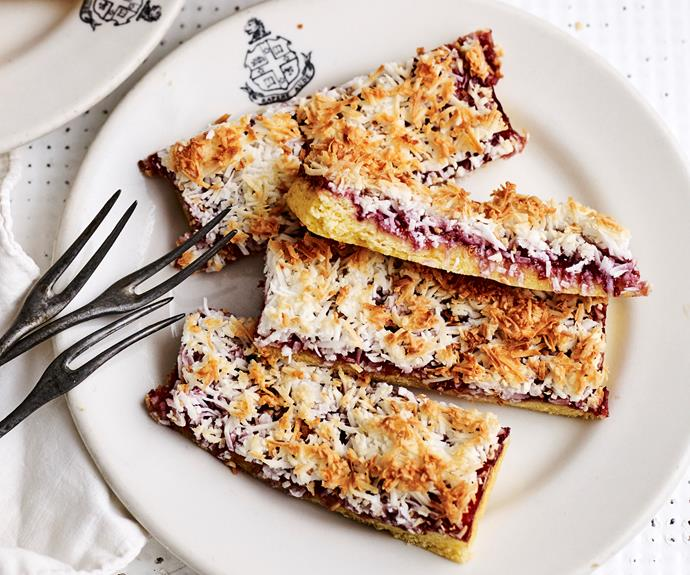 """**[Raspberry coconut slice](https://www.womensweeklyfood.com.au/recipes/raspberry-coconut-slice-3862
