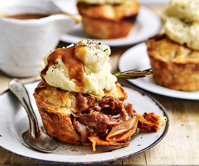 """We can't go past a good meat pie and these [lamb and rosemary individual pies](https://www.womensweeklyfood.com.au/recipes/lamb-and-rosemary-pies-11151