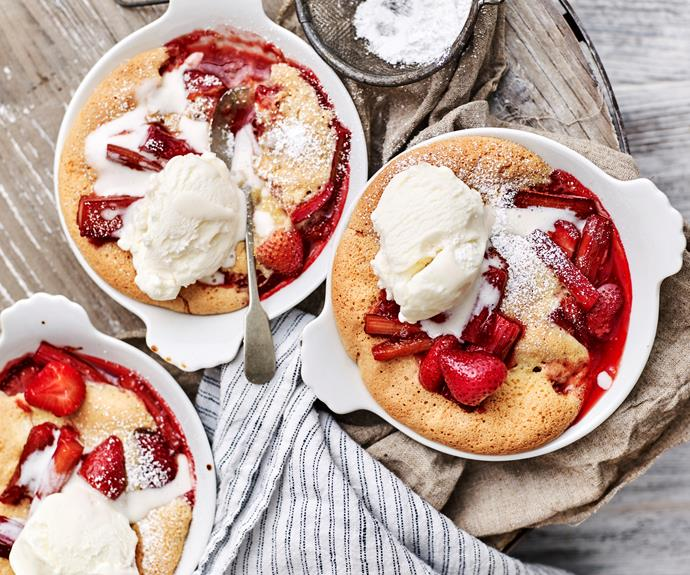 "This delicious winter pudding comes with a gorgeous sweet-yet-tart layer of stewed rhubarb and strawberries covered by a [moist sponge topping](https://www.womensweeklyfood.com.au/recipes/rhubarb-and-strawberry-sponge-puddings-12886|target=""_blank"")."