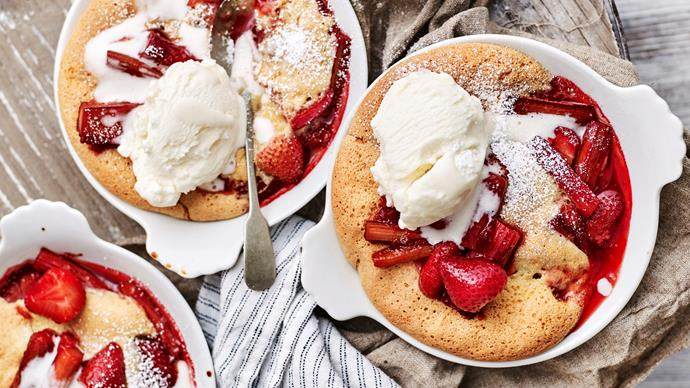 rhubarb and strawberry sponge puddings