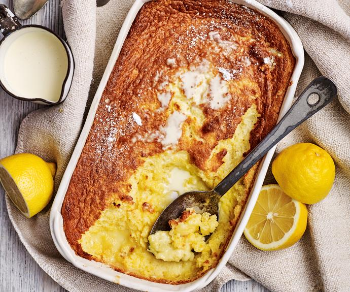 "**[Lemon delicious](https://www.womensweeklyfood.com.au/recipes/lemon-delicious-31970|target=""_blank"")**  All the bright flavours of lemon in a moist and fluffy pudding. Serve with a dollop of cream or ice-cream for a delicious after-dinner treat."